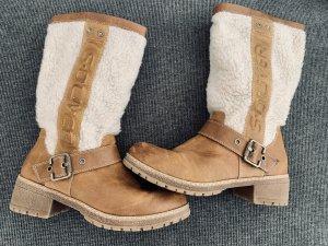 s.Oliver Fur Boots light brown-natural white