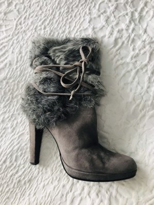 Strenesse Fur Boots light grey-grey