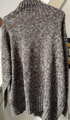 Bon Prix Sweter z grubej dzianiny brąz-biały Poliakryl