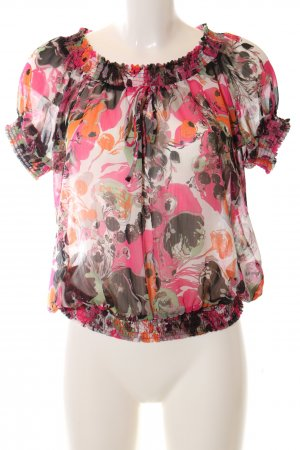 Wissmach Carmen-Bluse pink abstraktes Muster Casual-Look