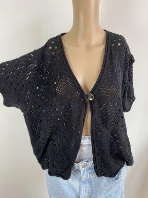 Wissmach Coarse Knitted Jacket black mixture fibre