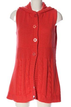 Wissmach Gilet à capuche rouge torsades style décontracté