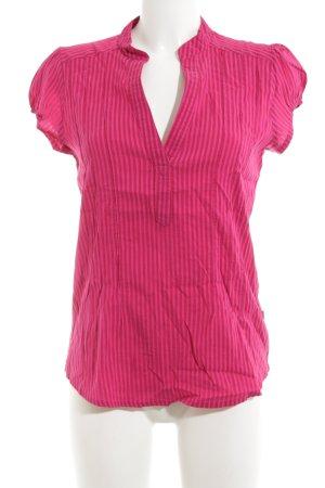 Wissmach Kurzarm-Bluse pink Streifenmuster Casual-Look