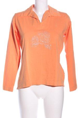 Wissmach Polo-Shirt hellorange Blumenmuster Casual-Look
