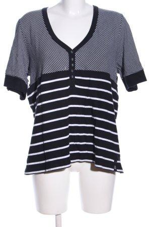 Wissmach T-Shirt schwarz-weiß Streifenmuster Casual-Look