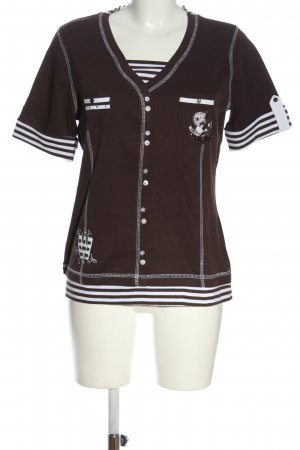 Wissmach V-Neck Shirt brown-white themed print casual look