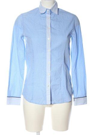 Witty Knitters Camisa de manga larga azul-blanco estampado con diseño abstracto