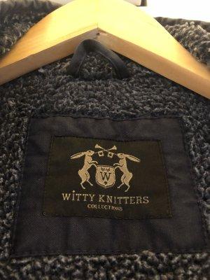 Witty Knitters Manteau à capuche bleu foncé
