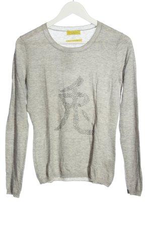 Witty Knitters Pull en laine gris clair moucheté style décontracté