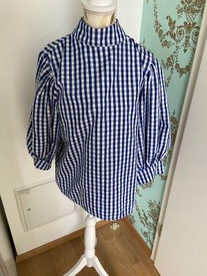 Bluzka w kratę biały-niebieski