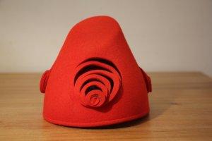 Chapeau en feutre rouge laine