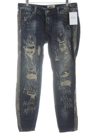 Wiya Slim Jeans dunkelblau-hellbeige Logo-Applikation aus Leder