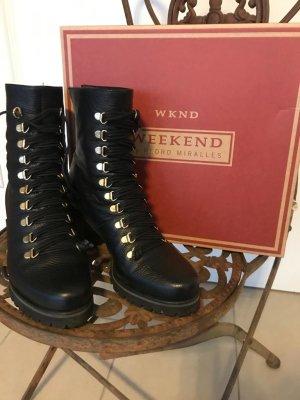 WKND Weekend by Pedro Miralles Leder Stiefel Stiefletten Boots Military Skihaken Nieten Schnürung Absatz