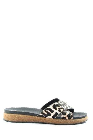 WODEN Sandalias de playa negro-blanco estampado de leopardo look casual