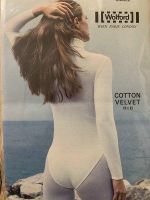 Wolford ecru CottonVelvet Rib Rollkragenpullover Body Gr. S,neu