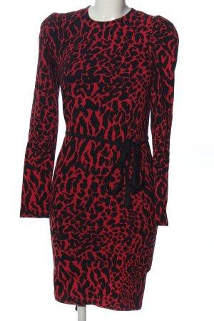 Wolford Langarmkleid schwarz-rot Allover-Druck Elegant