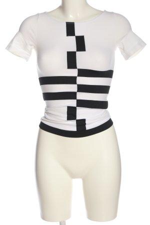 Wolford U-Boot-Shirt weiß-schwarz grafisches Muster Casual-Look