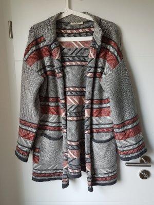 armedangels Veste en laine gris-rouge foncé