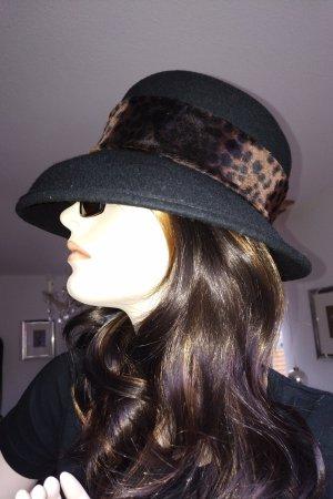 Vintage Cappello di lana nero-marrone Lana