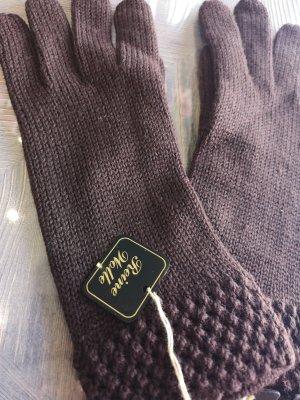 Gebreide handschoenen donkerbruin
