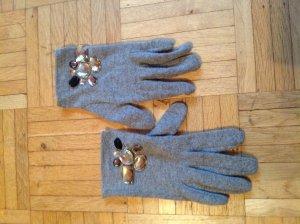 Woll-Handschuhe mit Schmuckstein-Applikation