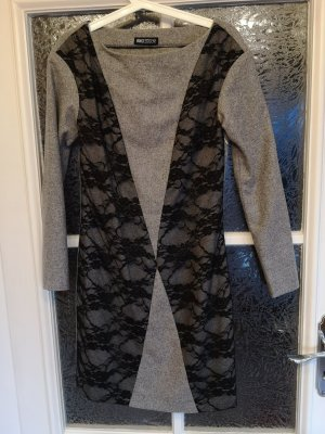 Woll-Kleid mit Spitze Angezogen! Gr. S 36 grau