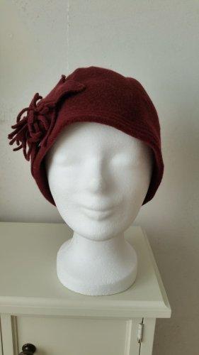 Seeberger Chapeau en tissu rouge carmin-bordeau laine