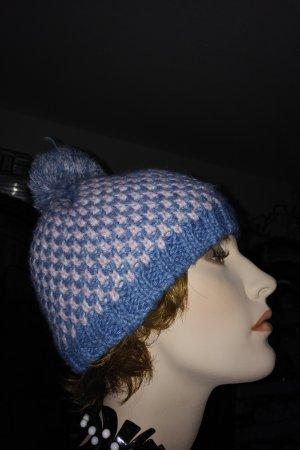 Zwillingsherz Bobble Hat light pink-azure polyacrylic