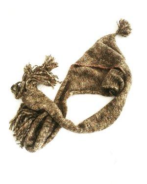 woll mütze / strick schal / vintage / granny / chestnut meliert / boho / hippie / hoodie
