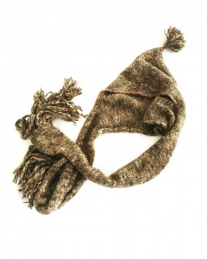 Vintage Knitted Hat brown-cream