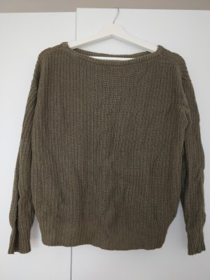 Brandy & Melville Coarse Knitted Sweater green grey-olive green