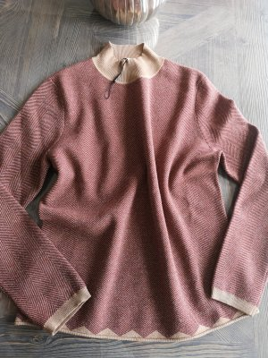 potray Jersey de lana color oro-carmín