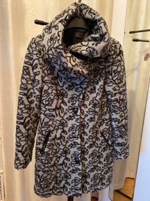 Manteau court noir-argenté laine