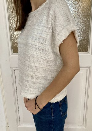 Mango Knitted Top natural white cotton