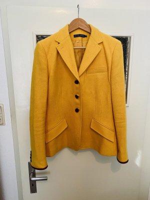 Wollblazer gelb Cognac Leder Ralph Lauren  14 40 Patches Blazer