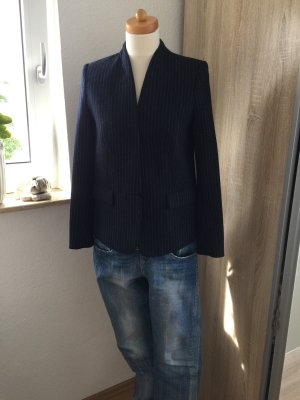 H&M Wool Blazer dark blue-white