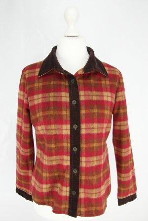 Camicia a scacchi marrone scuro-arancione scuro Lana
