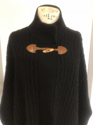 0039 Italy Knitted Poncho black-cognac-coloured