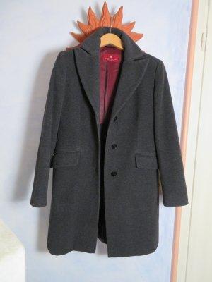 Wolle Cashmere Mantel Gr. 38 - Edel und lässig - DINOMODA Italy - Anthrazit Dunkelgrau Warm Wintermantel