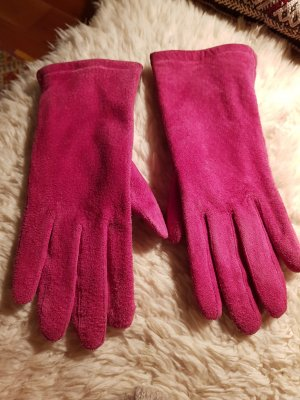 Wolle gefütterte ROECKL Velour Leder Finger Handschuhe pinkfarben - Größe 6,5 S M - ungetragen