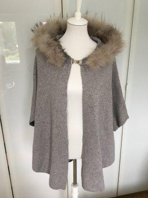 Poncho in maglia grigio chiaro Viscosa