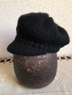 Wolle Schwarze Strickmütze Strickkappe Kappe Strick Mütze Mit Schild
