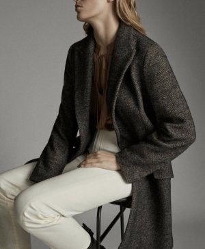 Massimo Dutti Wool Coat black brown