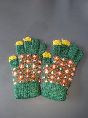 Guantes con dedos amarillo pálido-verde hierba