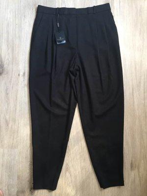 Massimo Dutti Pantalon en laine brun noir-brun foncé laine