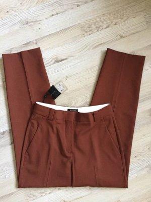 Massimo Dutti Wełniane spodnie rudy-brązowo-czerwony Wełna