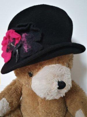 Margaret Brand Wollen hoed zwart-roze Wol
