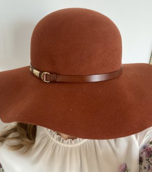 Massimo Dutti Chapeau à larges bords rouille-rouge carmin