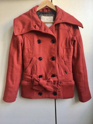 Cordon Jeans Company Pea Jacket dark red-carmine wool