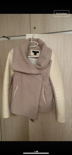 Hennes Collection by H&M Biker Jacket beige-natural white wool (merino wool)